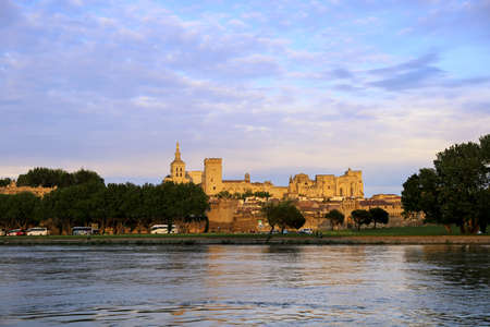 solidity: France:  Avignon castle at sunset