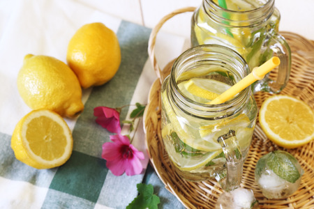 cool mint: Cool refreshing drink: pure water, ice, lemon and mint Stock Photo