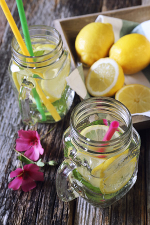 sappy: Cool refreshing drink: pure water, ice, lemon and mint Stock Photo