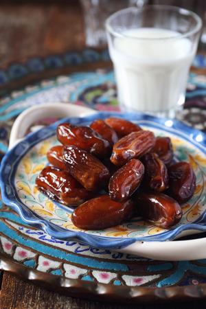 Ramadan: ripe dates and  fermented milk drink