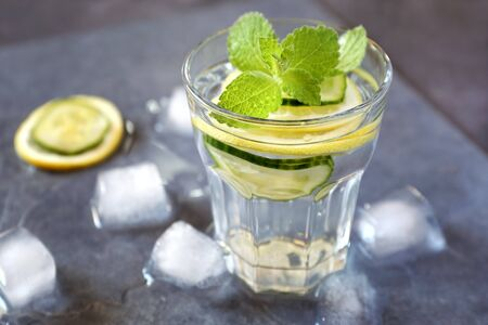 cool mint: Cool refreshing drink: pure water, ice, lemon, cucumber and mint garnish