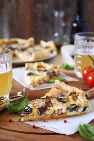 morsel: Mushrooms and bacon quiche and two mugs of beer