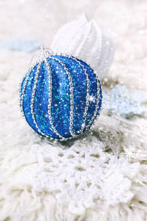 fancywork: New Year composition: crochet snowflake and two large Christmas balls