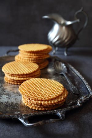 nicety: French waffles, traditional norman biscuit and vintage dish, dark photo