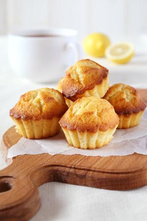 Lemon muffins and large mug of tea for breakfast