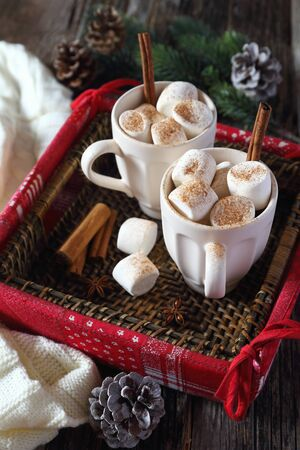 christmas marshmallows in two cups and holiday decorations stock photo 68867777 - Christmas Marshmallows