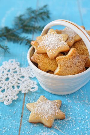 crocheted: Homemade Christmas cookies and white crocheted snowflake