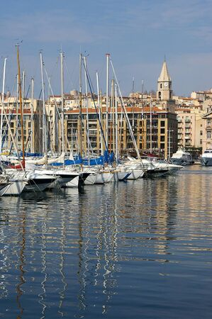 eclecticism: France, Mediterranean, Marseille: reflections of masts in the old port