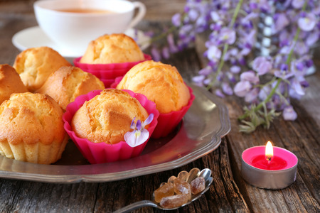 Spring tea: lemon muffins, tea and flowering blue wisteria