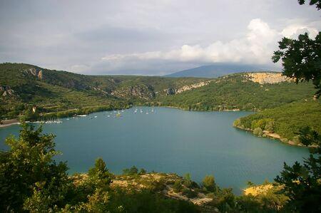 France. Landscape of Provence: the Lake of Sainte-Croix  Stock Photo