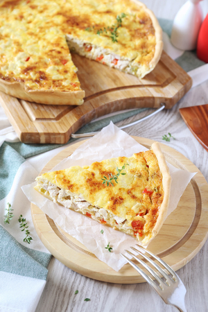 Chicken and bell pepper quiche, french cuisine Stock Photo