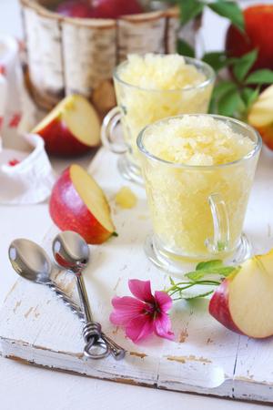 Apple granita, frozen summer dessert, selective focus, two cups