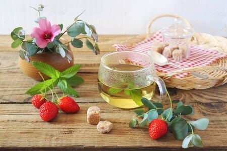 Summer composition with herbal tea of mint, eucalyptus and strawberry