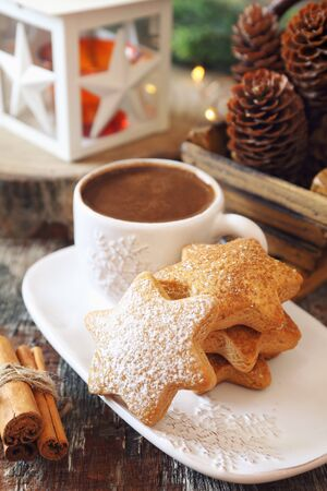 Homemade Christmas cinnamon cookies (spice-cake),  cup of coffee and New Years decoration. Rustic style