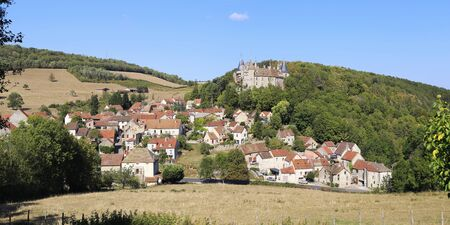 Rural landscapes of France. Burgundy region, La Rochepot village, ancient castle on the hill. Panorama Stock Photo
