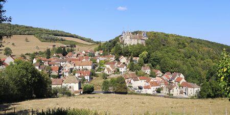 Rural landscapes of France. Burgundy region, La Rochepot village, ancient castle on the hill. Panorama Reklamní fotografie