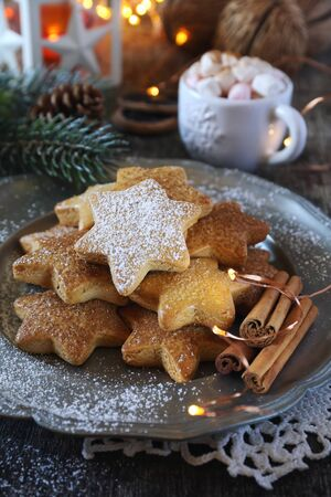 Christmas cinnamon cookies (spice-cake),  cup of coffee with marshmallows and New Years decoration. Rustic style