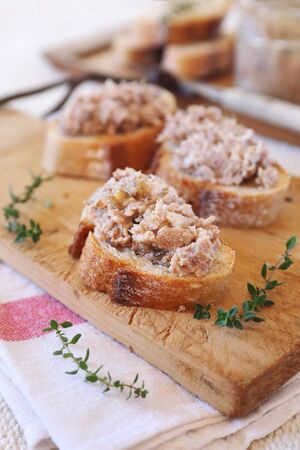 French rillettes: meat pate with bread on cutting wooden board
