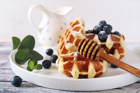 Traditional belgian waffles with blueberries and honey for sweet breakfast on light background