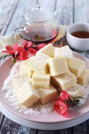 Apple gelatin dessert. Sugar free pastila. Homemade apple marshmallow cubes in coconut flakes and tea, blooming japanese quince decoration. Focus selective