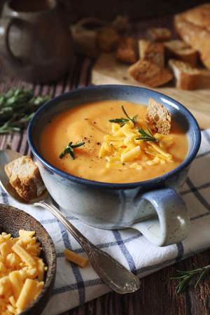 Brighton Soup. Carrot and potato cream soup with cheddar cheese. Rustic style