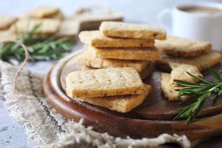 Homemade Rosemary Shortbread Cookies and cup of coffee Archivio Fotografico