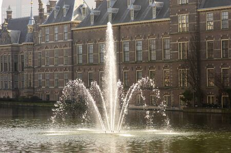 The fontain in the Court pond near Binnenhof, house of dutch parliament, also called Hofvijf