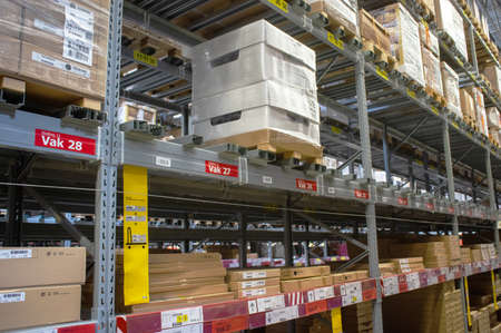Duiven, Netherlands - May 24, 2019: IKEA warehouse in the IKEA store to pick up the purchased goods