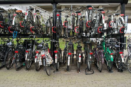 Bicycles stored in a bicycle storage.