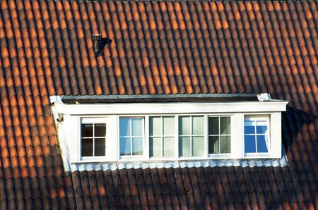 Brown roof with large dormer Stock Photo