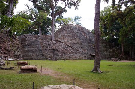 Ruin of ancient pyramid in the jungle of Copan, Honduras