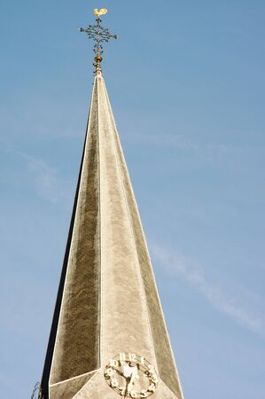 The spire with clock of the Martinuskerk in Arnhem, Netherlands Banque d'images