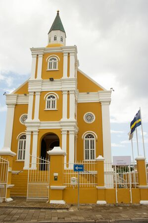 The yellow building of the public prosecutor in Willemstad, Curacao