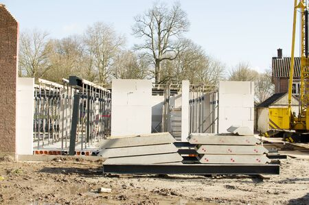 Unfinished walls of concrete on a construction site in Elst, Netherlands Banque d'images