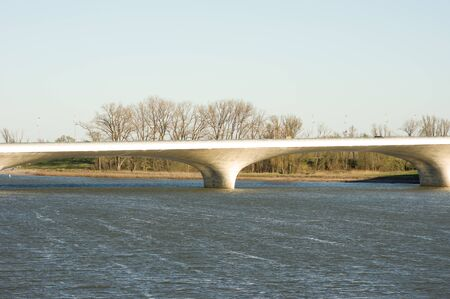 Piece of the Waalbrug over the river Waal bridge in Nijmegen, Netherlands Banque d'images