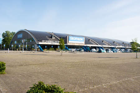 Arnhem, Netherlands - May 26, 2020:Rijnhal with store of Decathlon of Rijnhal is a 5,000-capacity indoor arena located in Arnhem