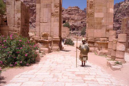 Petra, Jordan - May 3, 2019: Man dressed as a Roman soldier to entertain tourists