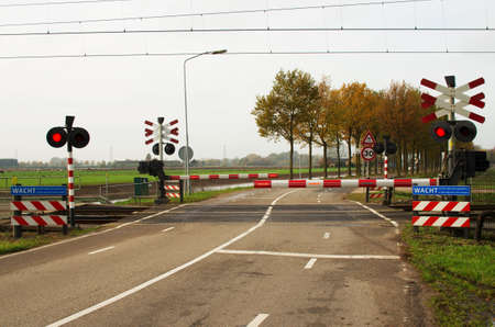 Level crossing with closed barriers