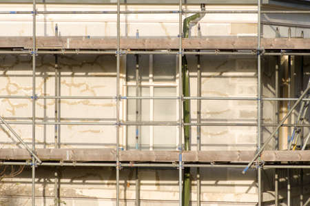 Closeup of scaffolding of a building under construction