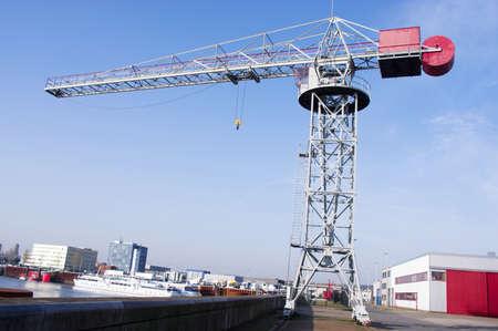 Large industrial crane in the harbor of Arnhem, Netherlands