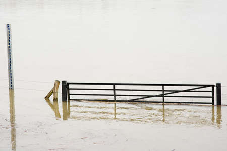 Fence in a flooded pasture due to high water of the river Rhine in Arnhem in the Netherlands