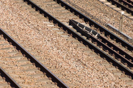 Closeup of a double railway for trains