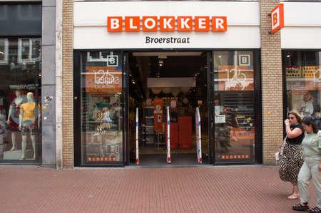 Nijmegen, Netherlands - June 26, 2021: Entrance of a blocker store. Blokker is a Dutch household supply store chain owned by the Blokker Holding