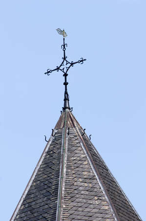 Closeup of the top of the tower of the Saint Nicholas chapel at the Valkhof park, Nijmegen, Netherlands Stockfoto