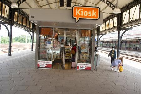 Nijmegen, Netherlands - June 26, 2021: Small Kiosk store at the platform of station Nijmegen in the Netherlands