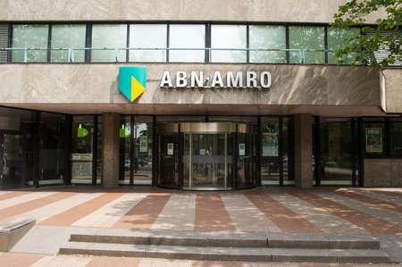 Nijmegen, Netherlands - June 26, 2021: Entrance of a ABN AMRO office.ABN AMRO is a dutch retail bank