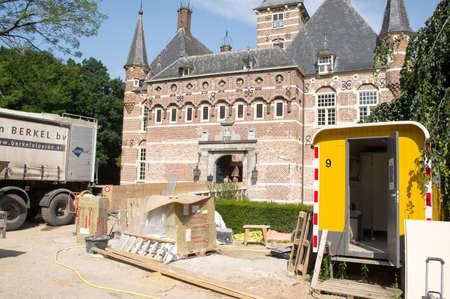 Wijchen, Netherlands - July 9, 2021: Construction works at the castle of Wijchen Redactioneel