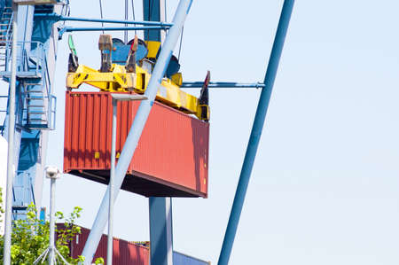 Closeup of a container being lifted at a container terminal in Doesburg in the Netherlands