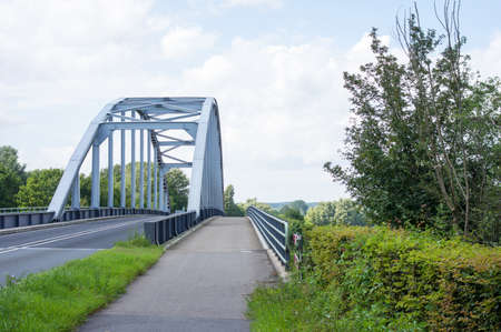 Closeup of a steel frame of a bridge on the river IJssel in Doesburg in the Netherlands