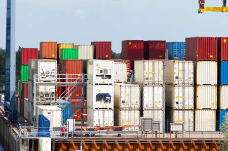 Stacked containers at a container terminal in Doesburg in the Netherlands